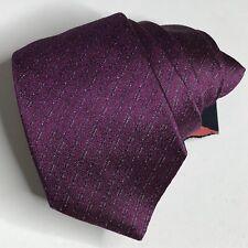 John Varvatos USA Men's 100% Silk Textured Striped Neck Tie Italy Purple Silver