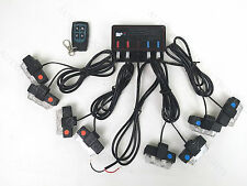 8In1 16 LED 16W Flash Strobe Warn Light Deck Dash Grill Remote Control Amber