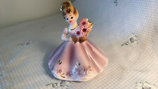 Vintage Josef Original Girl In Lilac Dress Holding Daisy Red Stones A+ Free Ship