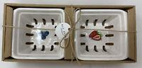 Rae Dunn - Strawberry / Berry Graphic White Fruit Basket Gift Set Pints - NEW