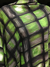 Lime/Black Squares Print Very Fine Crepe De Chine Dress/Craft Fabric*FREE P&P*