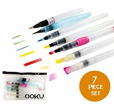 Ooku Watercolor Brush Pens 7 Piece Set - Bonus Pen Brushes Holder Pouch