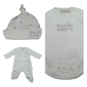 Ex Chainstore Babygrow Hat Vest Born in 2021 NEW Baby Gift Cotton NB - 6m
