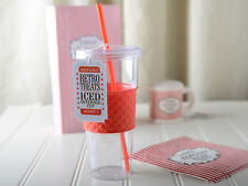 RETRO TREATS Popcorn PLASTIC ICED DRINKS Tumbler CUP WITH LID AND STRAW