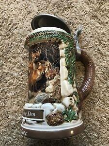 """Budweiser Animal Family Fox Family Den' 8"""" beer drinking stein 1998 Vintage"""