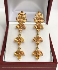 14k Solid Yellow Gold French Clip Dangle Earrings Natural Orange Sapphires 4.5CT