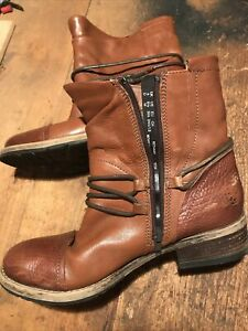Clarks Artisan Ankle Boots Women Rope Strap Side Zipper Brown Leather Sz 8 1/2 M