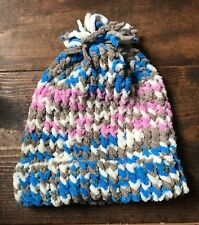 Handmade Knitted Adult Hat-Beanie-Stocking Cap-Blue Pink White Brown-Pom Pom-New