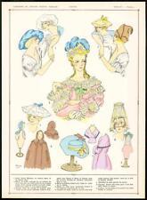 C1920 antica stampa francese moda coiffes CAPS Donna Headwear (57)