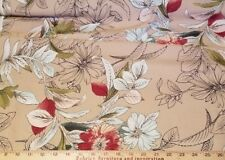 Peachy Beige Crepe with Retro Style Floral Pattern - Very Cute!