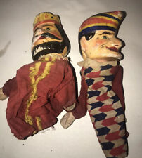 Antique German Carved Wood & Painted Punch And King Puppets
