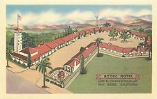 SAN DIEGO CA AZTEC HOTEL EL CAJON BLVD. LINEN POSTCARD