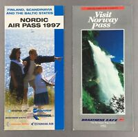 BRAATHENS SAFE NORWAY NORDIC AIRPASS LEAFLETS TRANSWEDE MAERSK LITHUANIAN AIR