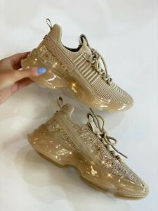 Steve Madden Women's Maxima Rhinestone-Trim Trainer Sneakers size 8