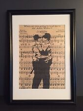 VINTAGE ANTIQUE MUSIC BOOK PAGE WALL ART PRINT PICTURE -BANKSY KISSING POLICEMEN