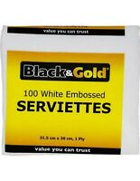 Black & Gold White Embossed Serviettes 1ply 100 Pack x 30