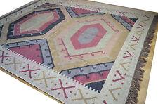 Énorme Kilim Tapis Indian Noué À La Main Hexagonale Géométrique 240x300cm 2.4x3m