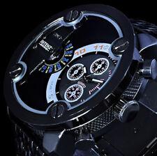 XL Analog Herren Armband Uhr Anthrazit Dual Dualtimer B-Ware Schwarz