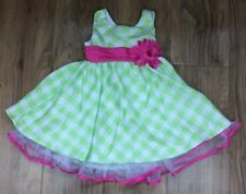 JONA MICHELLE Green White Checked Girls Dress Pink Sash Bow Flower Size 2T Age 2