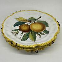3 x Vintage Italian Majolica FRATELLI FANCIULLACCI DISPLAY PLATES Fruit Motif