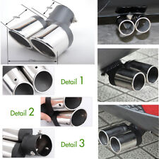 Stainless Steel Car Auto Dual Pipe Exhaust Tips Bent Tail Muffler Anti-corrosive