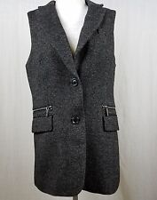 Michael Kors Womens Tweed Vest Two Button Chrome Zippered Pockets Size 10