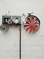 vintage tractor farm Wind Spinner Garden Stake hand painted - Windmill gift