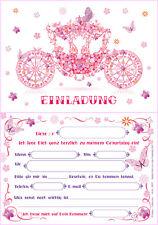 12 Einladungskarten Einladungen zum Kindergeburtstag Kutsche für Prinzessin