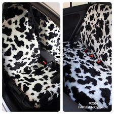 COW PRINT LUXURY FAUX FUR FURRY CAR SEAT COVERS - FULL SET- UNIVERSAL FIT