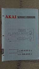 Akai at-k33/L/J am-u33/J Service Manual stereo tuner amp original repair book