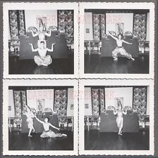 Lot of 4 Vintage Photos Man & Pretty Girl in Chinese Dancing Costumes 759458