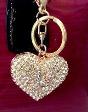 Crystal Rhinestone Alloy Heart Key Chain Purse Charm Key Ring