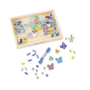 """Melissa & Doug 14179 Bead Set """" Butterfly Friends """" Wooden Box New! #"""