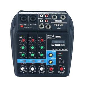Mischpult 4-Kanal BT Sound USB Mini Audio Mixer Record DJ Konsole Verstärker