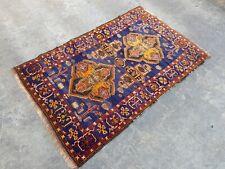 """Afghan Baloch Rug 4'5""""x2'9"""" Antique Rug Tribal vintage oriental low pile rug"""