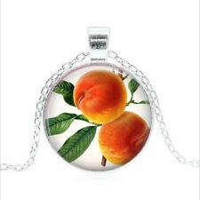 Peaches Tibet silver Glass dome Necklace chain Pendant Wholesale