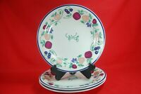 "Princess House ORCHARD MEDLEY Dinner Plates (Lot of 3) 10-1/2"" Blue Rim"