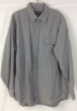 Lands End Solid Gray Chamois Cloth Flannel Shirt - Large Mens Cotton Tall XL