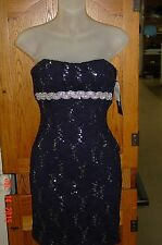 NWT MyMichelle Navy Silver Sequin Lace Dress Strapless Sweetheart Neckline Sz 3
