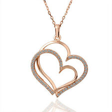 18K Rose Gold Filled Solid Double Heart Pendant Necklace With Swarovski Crystal