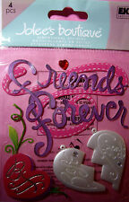 NEW 4 pc FRIENDS FOREVER  Best Friend BFF  Locket Gem JOLEE'S 3D Stickers NIP