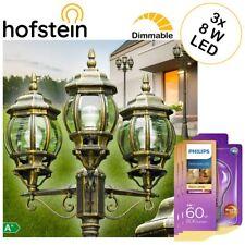 Mast Kandelaber Garten mit 3 Philips LED 8W Vintage Birnen Wege Außen Steh Lampe