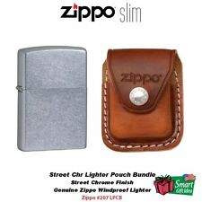 Zippo Street Chrome Lighter and Brown Leather Clip Pouch #207-LPCB