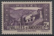 "FRENCH ANDORRA YVERT 83 "" CHAPEL NOTRE DAME MERITXELL 2F15 VIOLET "" MNH VVF K65A"