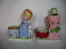 Vtg Jasco Luvkins & Critters Porcelain Candle Holders~Elephant w Drum~Angel Lamb