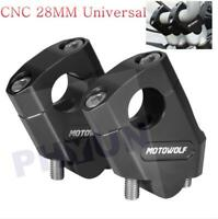 "CNC Motorcycle Handlebar Riser Mount Clamp For 28mm 1 1/8"" Bars Clamp Universal"