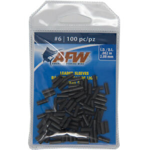AFW American Fishing Wire Single Barrel Copper Crimp Sleeves Leader Size 6 100pc
