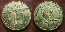 1938 Italia S.bonifaccio Gettone Buono alimentare da 10 cent S.Vincenzo de Paoli