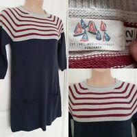 SEASALT Size 12 Ropehaven Jumper Dress Cotton Wool Blue Grey Burgundy Stripe