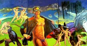 OriginalOil Painting exotic enormous triptych inspired by William Burroughs